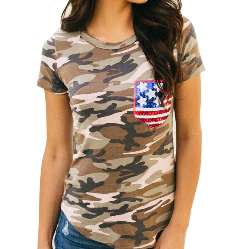 Women Camouflage T Shirt Short Sleeve American Flag Blusa Casual shirt Female Tees Elegant Ladies Tees Tops harajuku