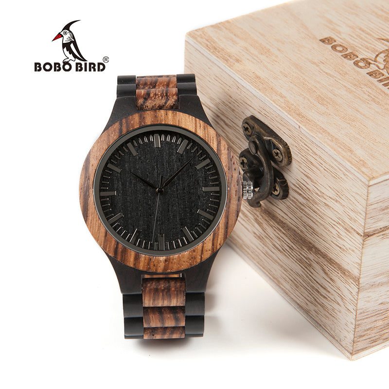 BOBO BIRD WD30 Brand Designer Mens Zebra Wood Watch Wooden Band Quartz Watches for Men Japan miyota 2035 Watch in Wood Box