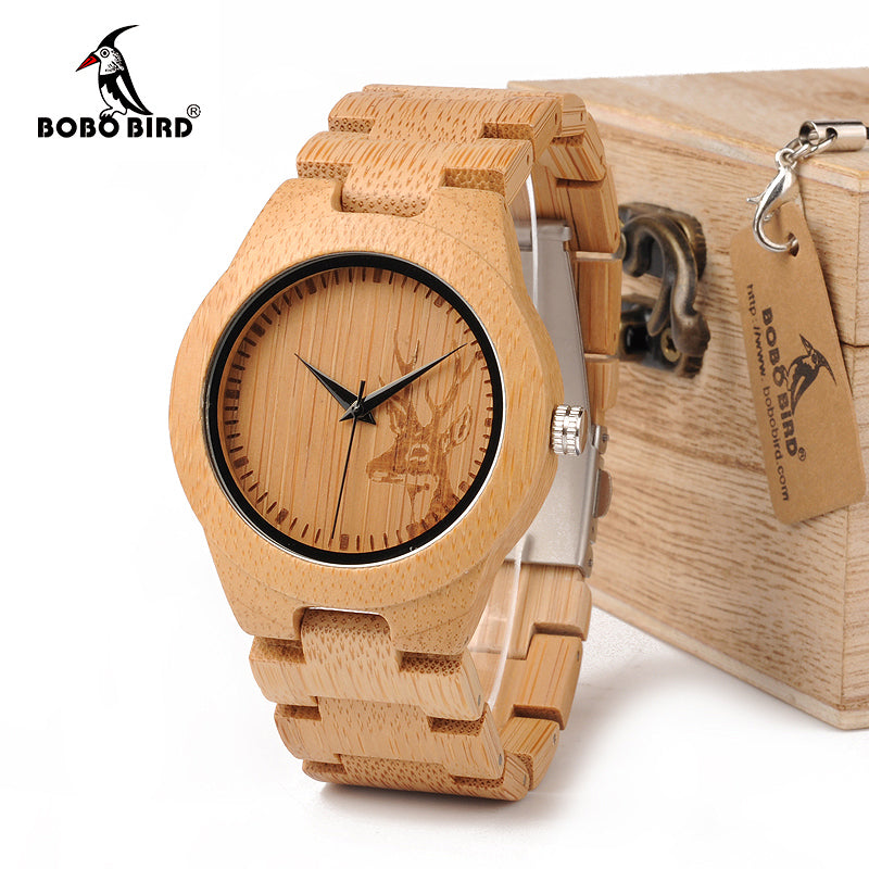 BOBO BIRD E04 Women's Elk Deer Design Dial Fashion Bamboo Watch Japan Quartz Bamboo Band Watches As Best Gift For Ladies Relojio