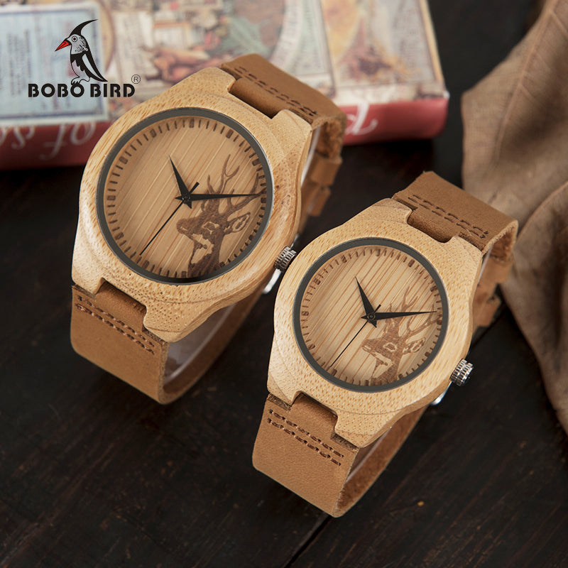 BOBO BIRD WN20 Lovers Elk Deer Head Bamboo Wooden Watch with Genuine Brown Leather Strap for Men Women