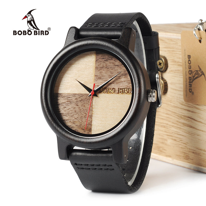 BOBO BIRD WN08 Ebony Wooden Watches Leather Band Natural Wood Chessboard Design Face Quartz Watch For Men Women OEM