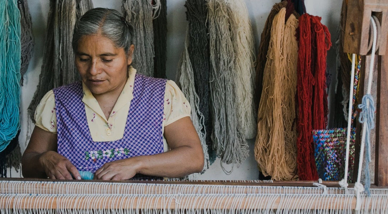 Zapotec Artisan Weaver With Naturally Dyed Sustainable Wool