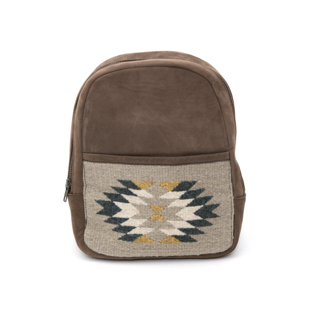 Brown Leather Mini Backpack with Woven Pocket Featuring Zapotec Design In Blue And Gray