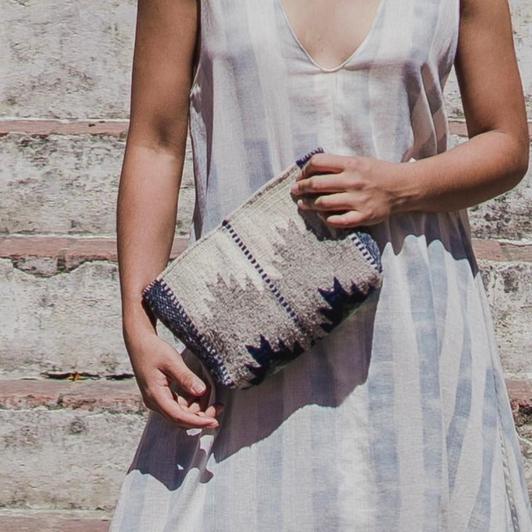 Off-White Wool Clutch With Gray And Blue Zapotec Lightning Designs