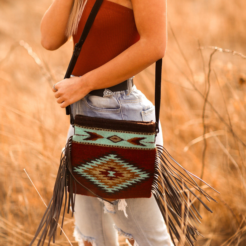 Brick Red Wool Crossbody Purse With Turquoise Zapotec Diamond And Arrow Designs And Brown Leather Fringe