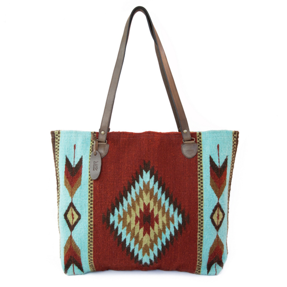 Brick Red Wool Tote Bag With Zapotec Diamond & Arrow Designs And Brown Leather Strap