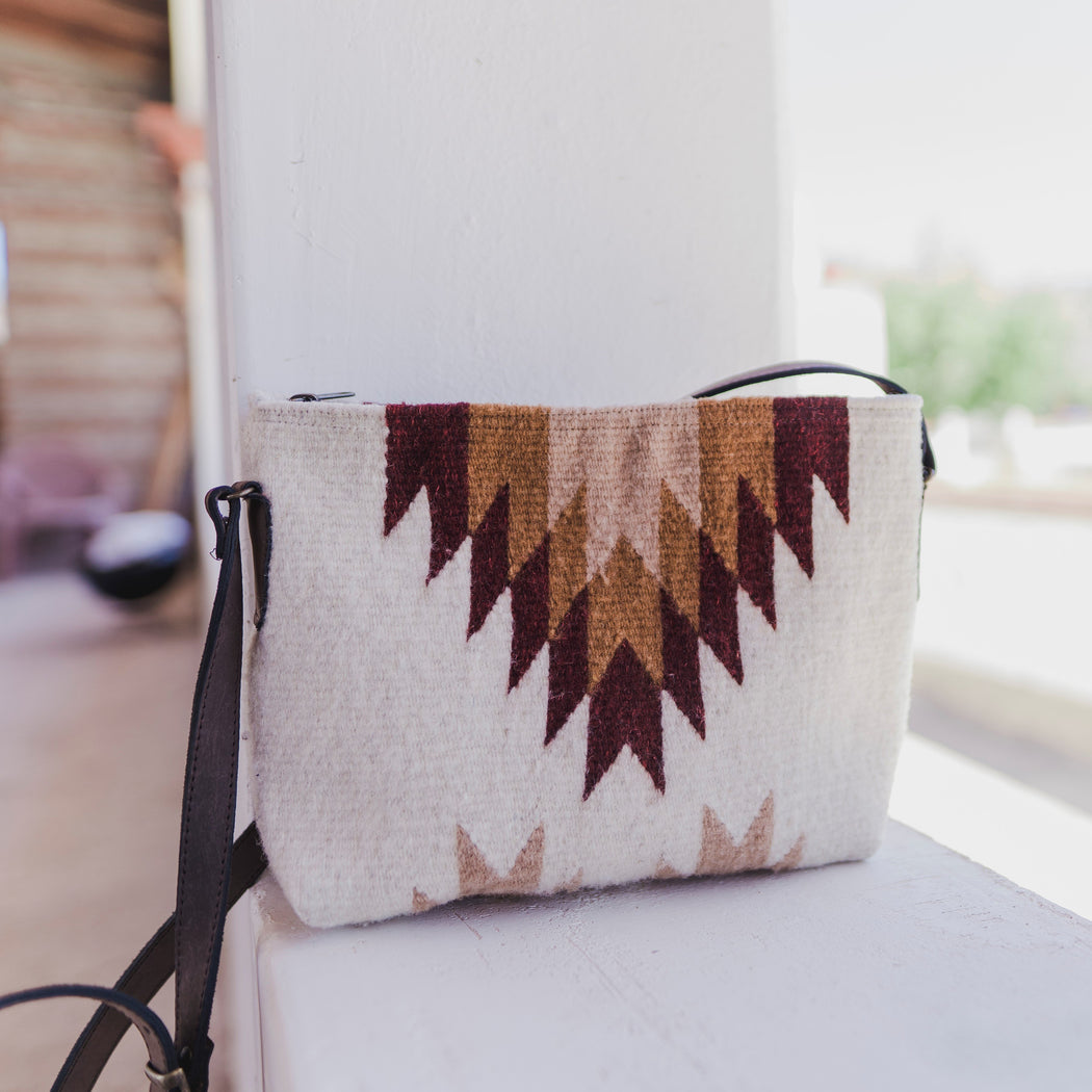 Cream Wool Crossbody Purse With Zapotec Diamond & Lightning Designs In Red, Orange And Yellow