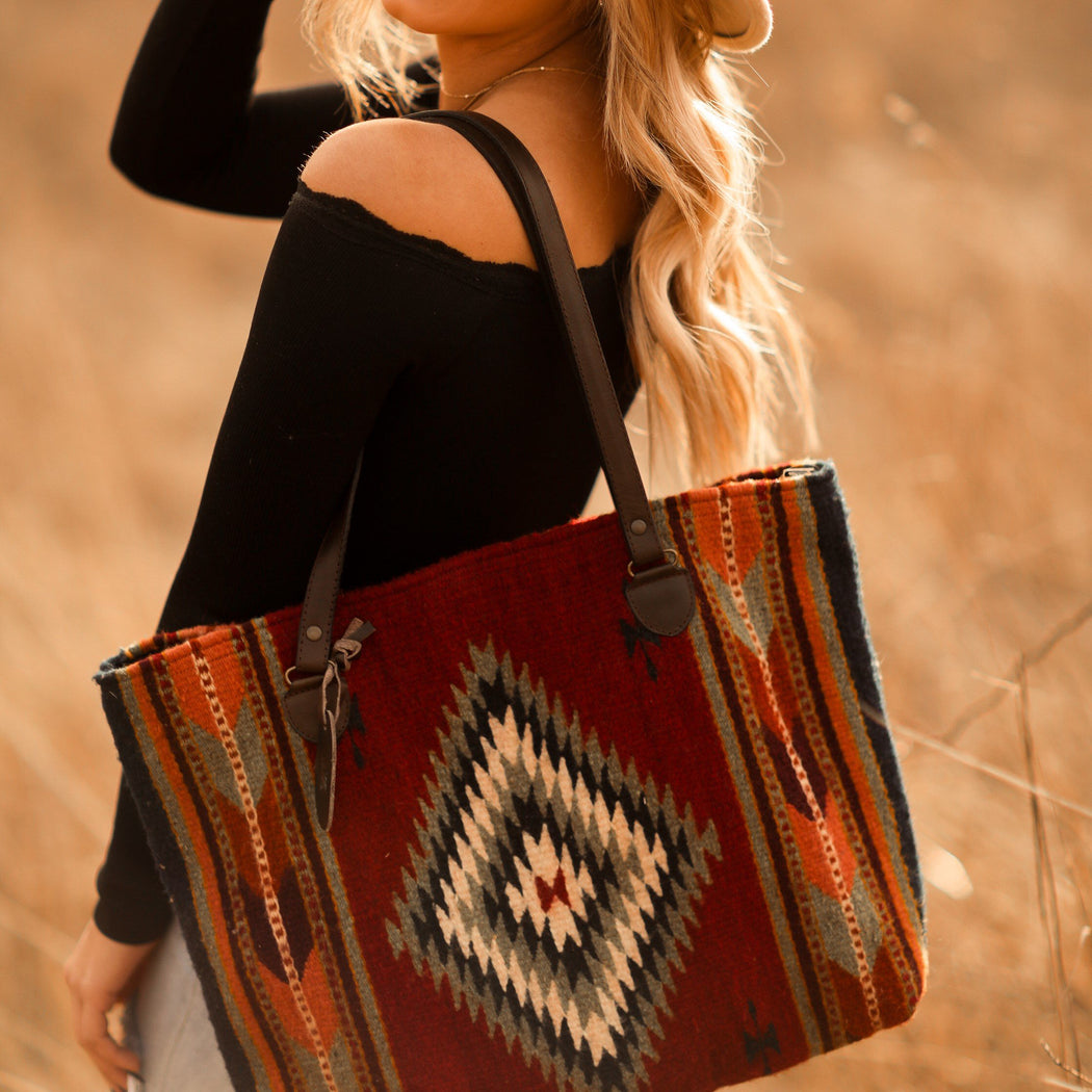 Red Wool Tote Bag With Multicolored Zapotec Diamonds & Arrows Design With Brown Leather Straps