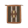 Blonde Leather Backpack With Zapotec Butterfly & Arrow Design In Green, Brown And Gray