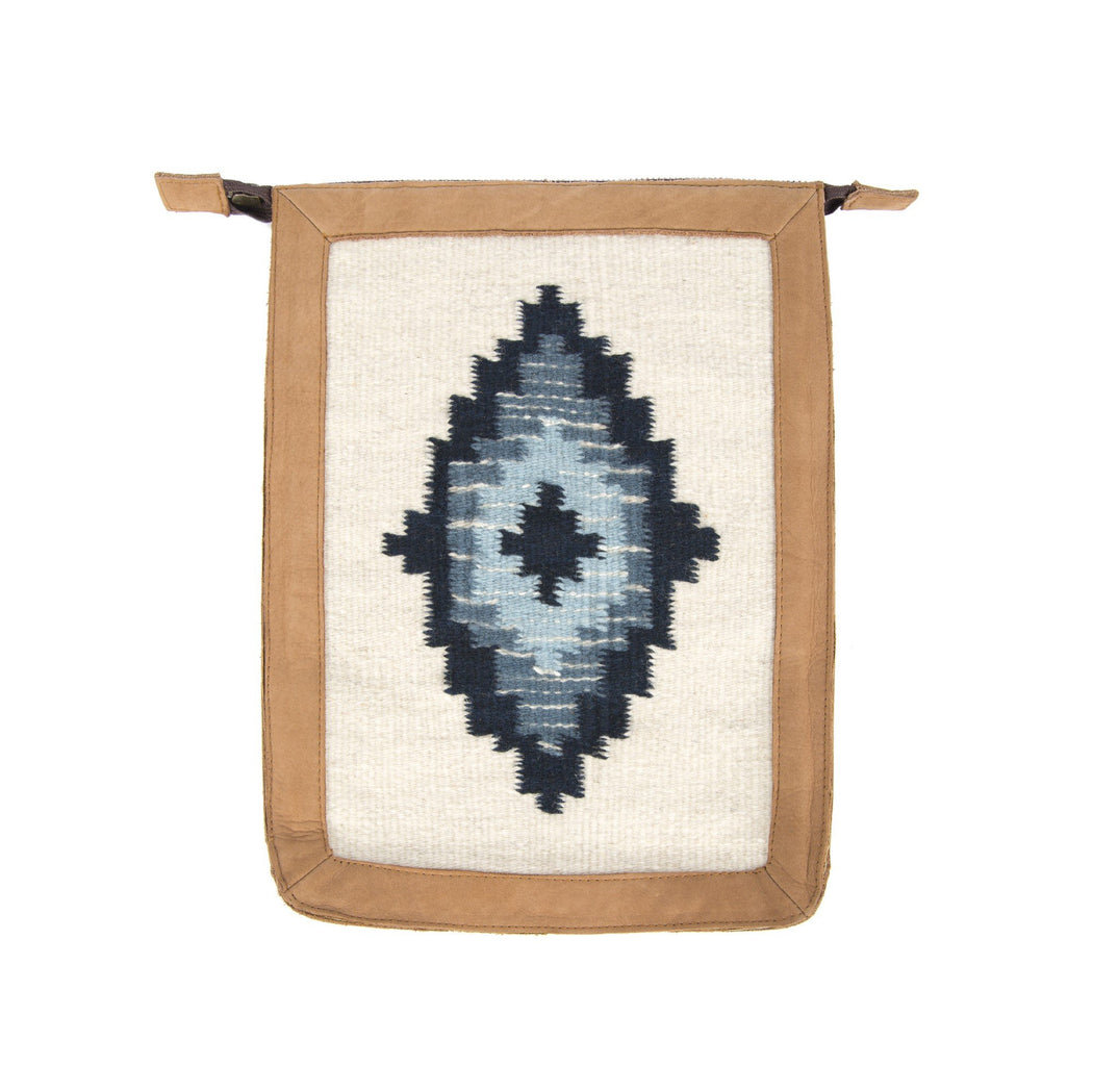 Blonde Leather Backpack With Zapotec Diamond Designs In Indigo And Blue On Cream Wool Panel