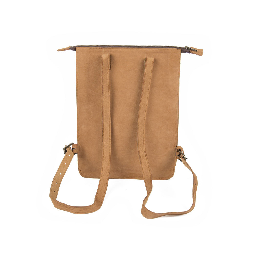 Rearview Of Blonde Leather Backpack With Adjustable Straps
