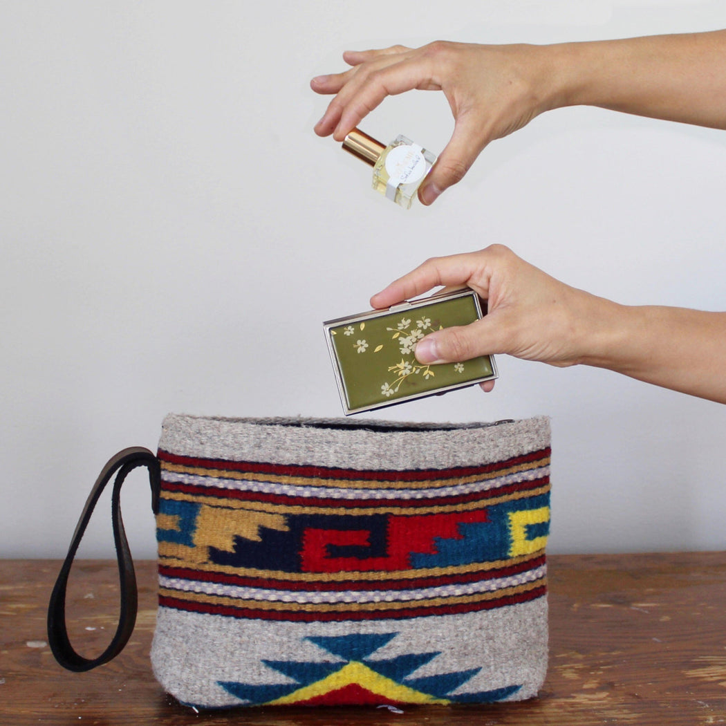 Makeup Going In Gray Wool Clutch Purse With Zapotec Mitla Designs In Red, Yellow And Blue, With Brown Leather Strap