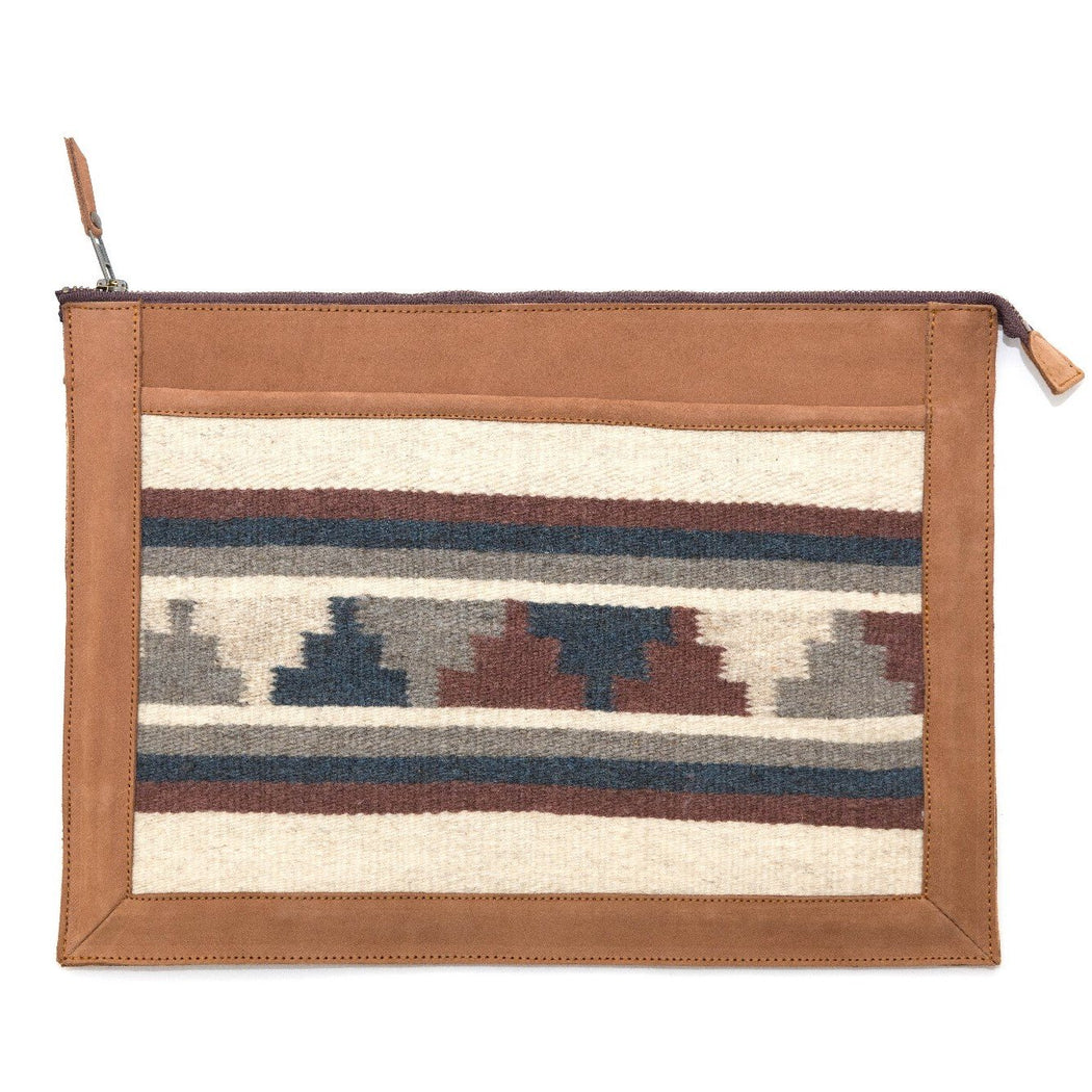 Blonde Leather Laptop Sleeve With Zapotec Mitla Designs In Blue, Gray, Cognac And Cream On Wool Panel