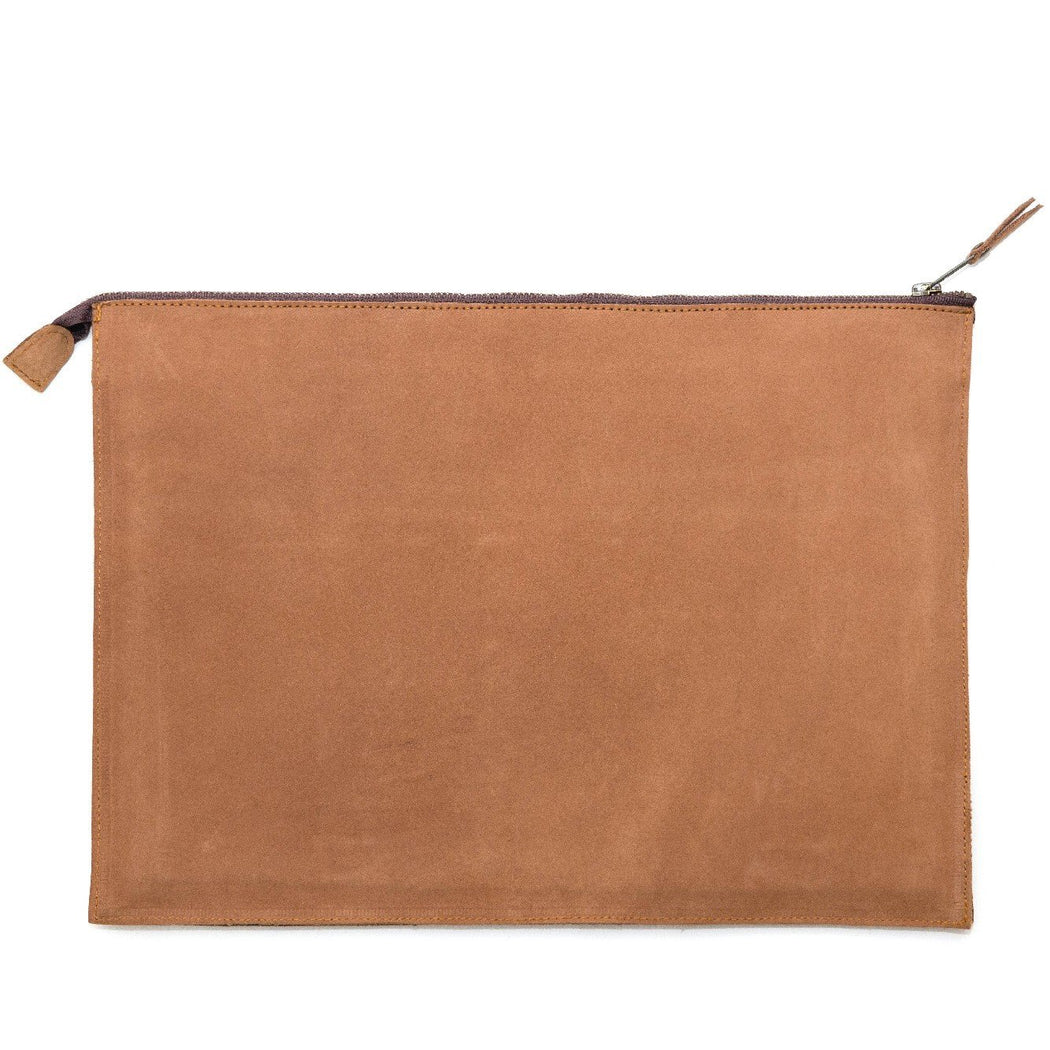 Rearview Of Blonde Leather Laptop Sleeve With Zapotec Mitla Designs In Blue, Gray, Cognac And Cream On Wool Panel