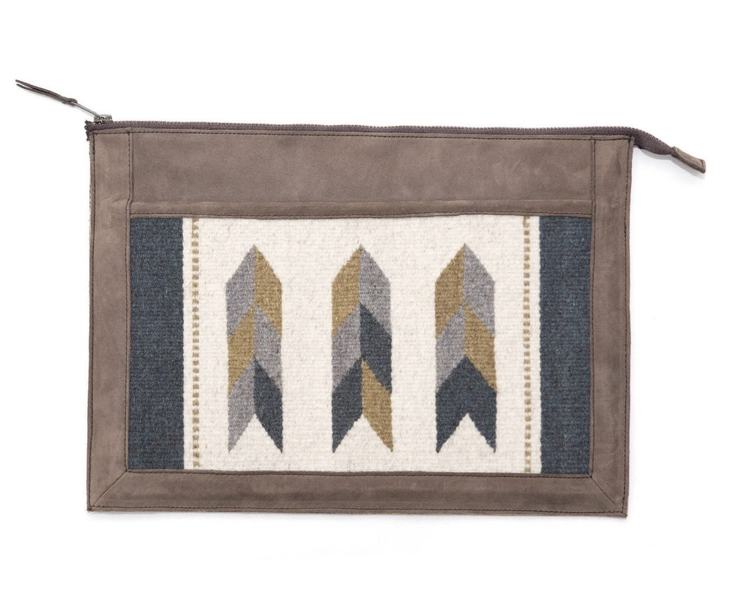 Brown Leather Laptop Sleeve With Zapotec Arrow Designs In Blue, Gray, Yellow And Cream On Wool Panel