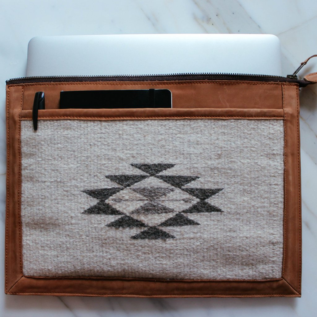 Pocket Detail View Of Blonde Leather Laptop Sleeve With Zapotec Diamond & Butterfly Designs In Undyed Wool