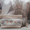 Beige Wool Clutch Purse With Zapotec Arrow Designs In Powder Blue, Cool Mint & Dusty Rose