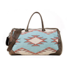 Wool Duffel Bag Featuring Zapotec Diamond Design in Orange, Beige and Green with Brown Leather Sides, Handles and Strap
