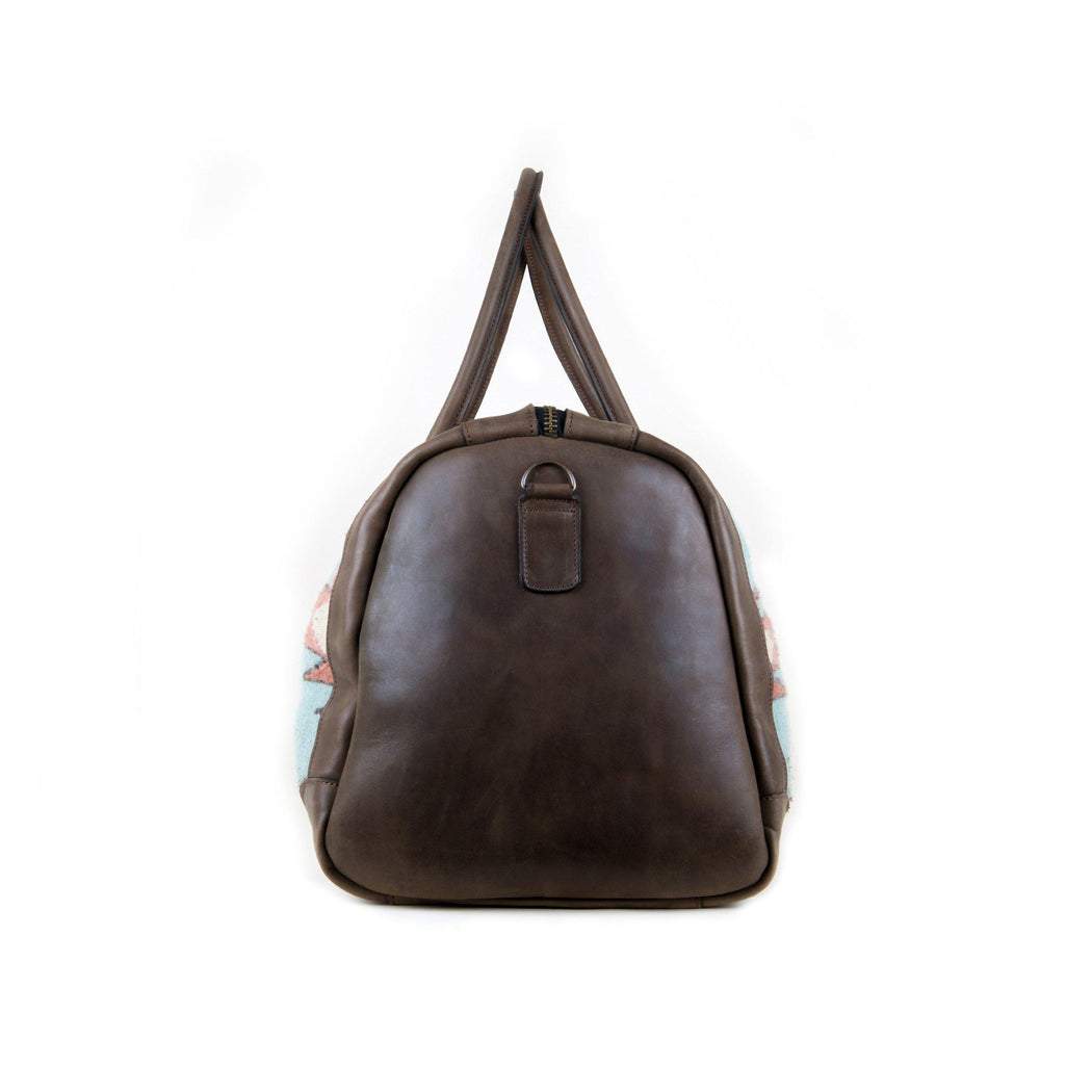 Side View Of Wool And Leather Duffel Bag Featuring Zapotec Design