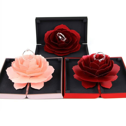 Creative Foldable Rose Gift Box for Ring