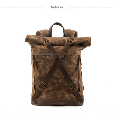 Luxury Vintage Wax Canvas Leather Backpack