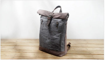 Fashion Canvas Wax Leather Backpack