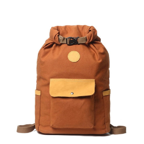 Canvas and Leather Waterproof Travel Backpack