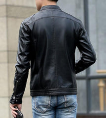 Contemporary Men's Leather Motorcycle Jacket