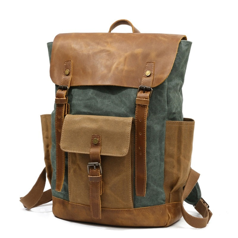 Stylish Travel Canvas and Leather Backpack