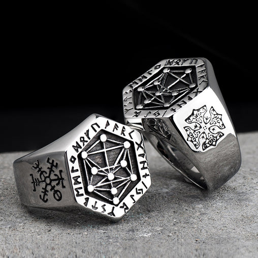 Nordic mythology Viking rune stainless steel rings