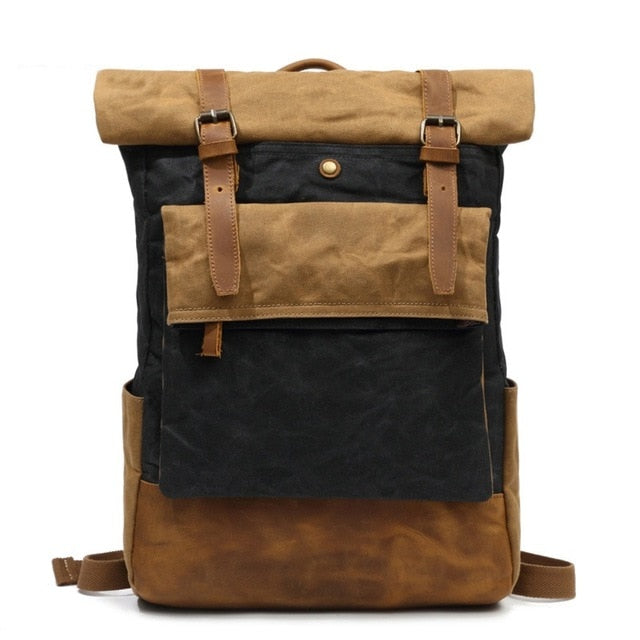 Vintage Canvas and Leather Waterproof Backpack
