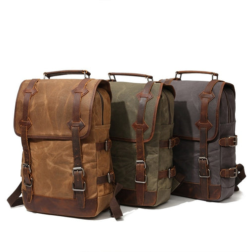 Large Capacity Canvas Leather Waterproof Backpack