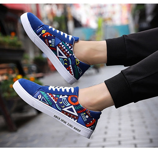 Printed Canvas Flat Shoes