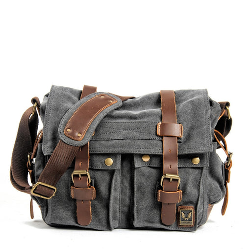 Canvas and Leather Big Shoulder Bag
