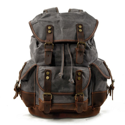 Vintage Canvas Leather Waterproof Travel Backpacks