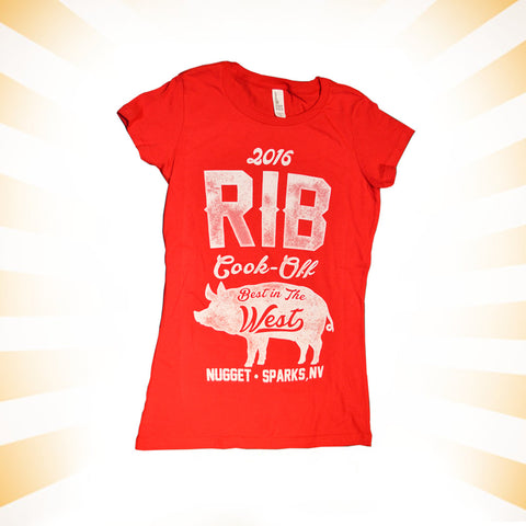 Rib Cook-Off Ladies Red Cap Sleeve T-Shirt