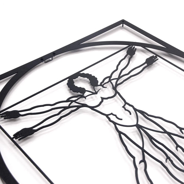 fibonacci numbers, metal wall art, vitruvian man, gift for art lover, golden ratio