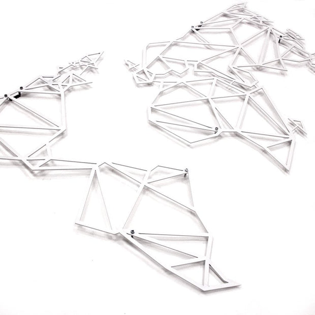 geometric world map, gifts for traveler, metal wall decor, white wall decor
