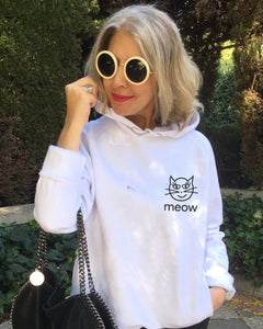 Special Price  IRONIC CAT  White Hoodie