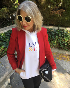Launch Offer LV LOVE COLOR White Hoodie