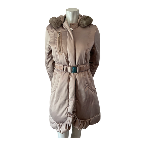 Tahari Grey Satiny Down Filled Coat with Fur Trimmed Hood Size Small