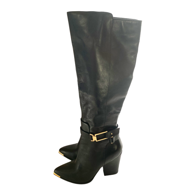 Black Leather Knee High Boots Size