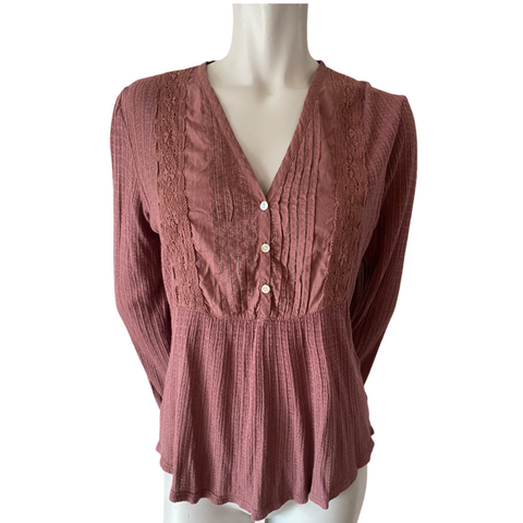 Lucky Brand Plum V Neck Top Size Medium (8)