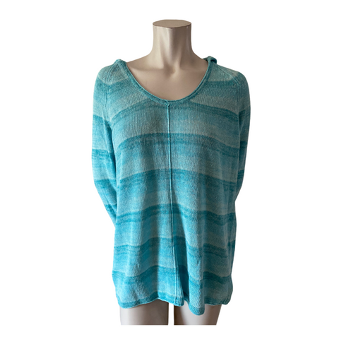 Tommy Bahama Linen/Cotton Turquoise Hooded Sweater Size Medium (10)