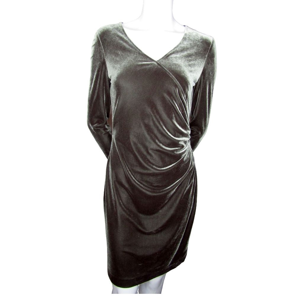 JS Collections Grey Velour Dress Size Small (6)
