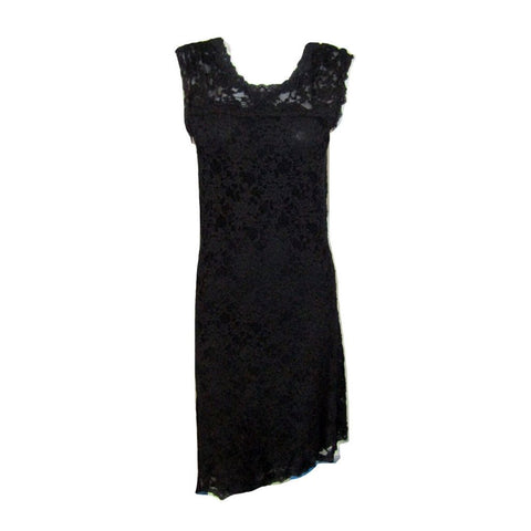 Rosemunde Black Stretch Lace Dress with V back Size Medium fits like a Small (6)