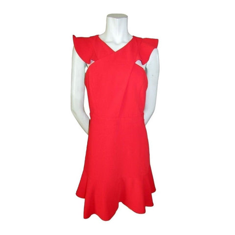 Adelyn Rae Cross Front Floaty Sleeve Red Dress Size Medium (8)