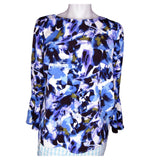 Halston Blue, Purple and Olive Bell Sleeve Blouse with Bell Sleeves Size Small (6)