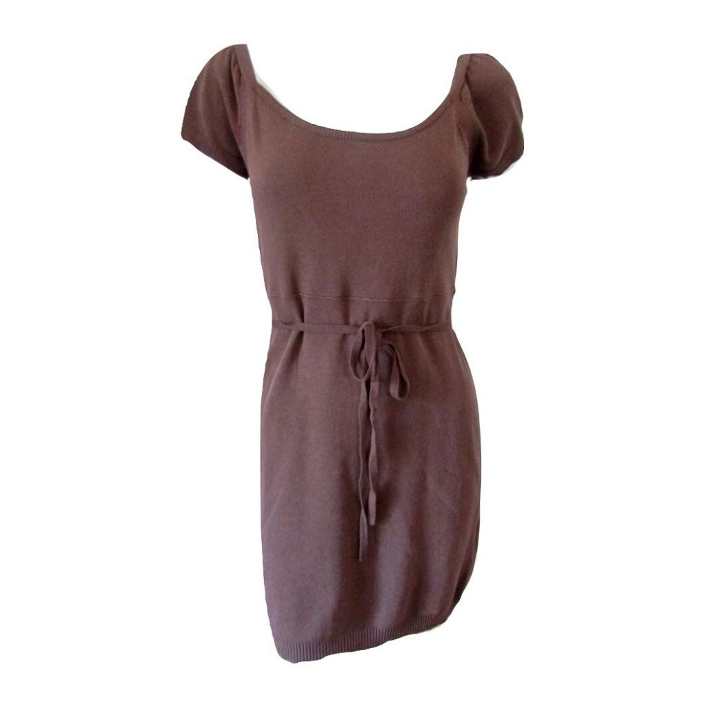 Monarch Chocolate Brown Cotton Light Knit Belted Tunic Size Large fits Medium (8)