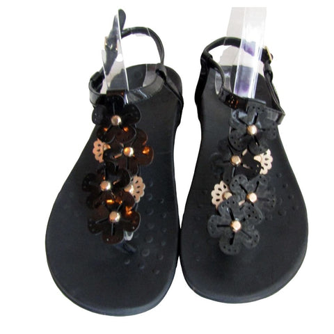 Vionic Black and Gold T Strap Sandals with Flowers Size 9